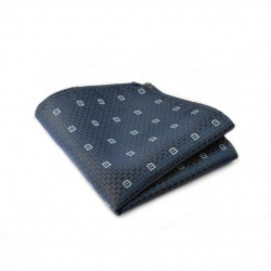 Brystlommetørklæde i mørkeblåt med lyseblåt mønster