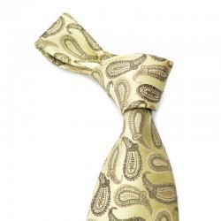 Paisley silkeslips i guld med brunt mønster