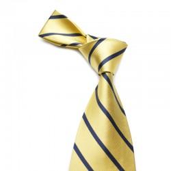 Stribet silkeslips på gul bund og med mørkeblå striber