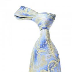 Paisley silkeslips i blåt med gult mønster