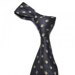Et spændende slips. Mørkeblåt med guld og sølv mønster og medium glans. Ren silke.