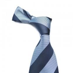 Stribet silkeslips i mørkeblåt med blå striber