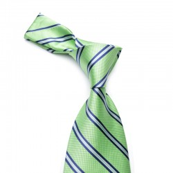 Slips på lysegrøn bund med smalle mørkeblå striber