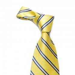 Stribet silkeslips på stærk gul bund. Tilsat blå og lyse striber.