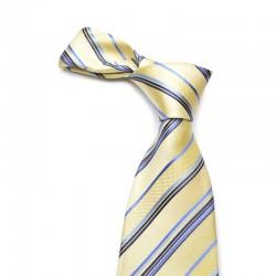 Stribet silkeslips på gul bund med blå og mørkeblå striber