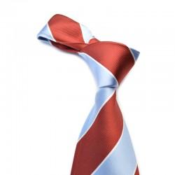Stribet silkeslips i rødt og lysblå. Klassisk og nobelt.