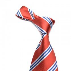 Stribet silkeslips på rød bund med smalle mørkeblå og hvide striber