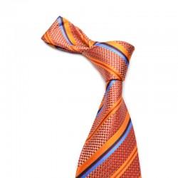 Stribet silkeslips på rød og guld bund med orange og blå striber