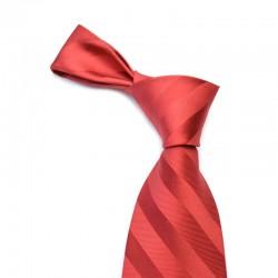 Stribet silkeslips i rødt med røde striber