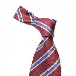 Stribet silkeslips på mørkerødt bund med smal blå og hvide stribe