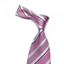 Stribet silkeslips på pink bund med sorte og grå striber