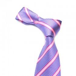 Stribet silkeslips med lilla bund og lyserøde striber