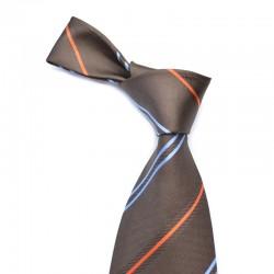 Stribet silkeslips i mørkebrun med tilhørende smal orange og blå stribe