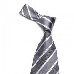Stribet silkeslips i mørkegrå med grå og hvide striber