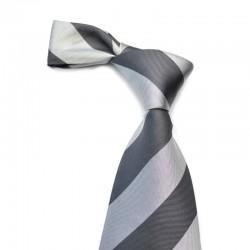 Stribet silkeslips med brede sorte og grå striber