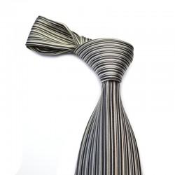 Silkeslips med horisontale striber i sort med grå og hvid