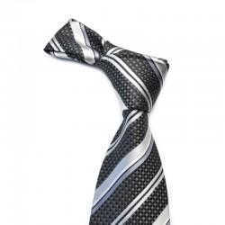 Stribet silkeslips med sort bundfarve. Dertil grå og sølv striber