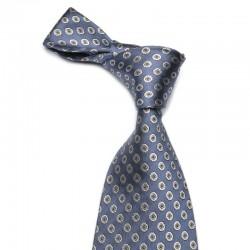 Mørkeblåt slips med små sølv medalioner. Det klassiske statsmands slips. Enkelt og nobelt.