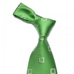 Mønstret silkeslips med stærk grøn bund i Harlekin vævning, dertil tilsat sølv mønster.