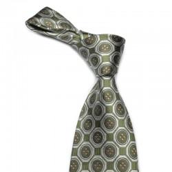 Mønstret silkeslips i grønt med sølv medaljoner