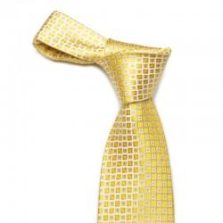 Guldfarvet silkeslips med roligt mønster.