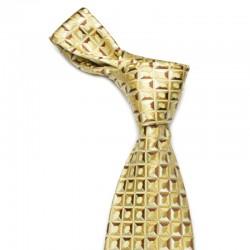 Mønstret slips i gult med en anelse sølv og kobber i sit mønster.