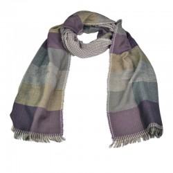 Halstørklæde til mænd. Ternet i farverne lilla, grå, sand og brunlige nuancer.