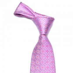 Slips i stærk farvet pink bund med blåt mønster og en anelse sølv.
