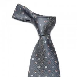 Mørkegråt silke slips med bordeaux mønster.