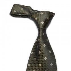 Mønstret slips i 100% silke. Sort bund der spiller i lyset og toner mod det brune.