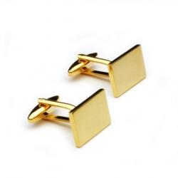 Gyldne manchetknapper i rektangulær form. Altid velegnet
