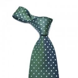 Prikket silkeslips i mørkegrønne og blågrønne farver.