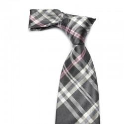 Til mænd der ønsker et ternet slips i mørkegrå og hvide tern med lyserød stribe