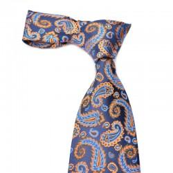 Paisley silkeslips i blåt paisley med blåt og orange mønster