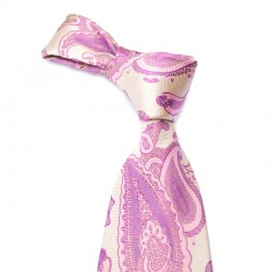 Paisley silkeslips i lyserødt paisley med pink mønster