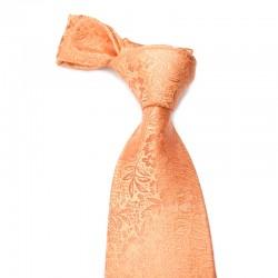 Blomstret silkeslips i orange med orange mønster