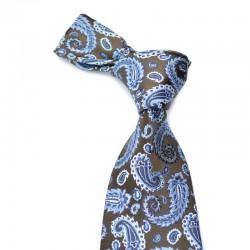Paisley silkeslips i mørkebrunt med blåt mønster