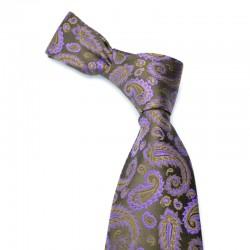 Paisley silkeslips i mørkebrunt med lilla mønster