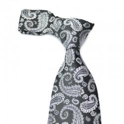Paisley silkeslips i sort med sølvgrå mønster. Et uroligt mønster med rolige farver og et behersket udtryk.
