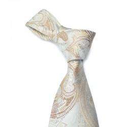 Paisley silkeslips i sølv med bronze og guld mønster