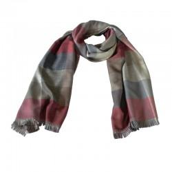 Halstørklæde til mænd. Ternet med farver i rød, grå og sand.